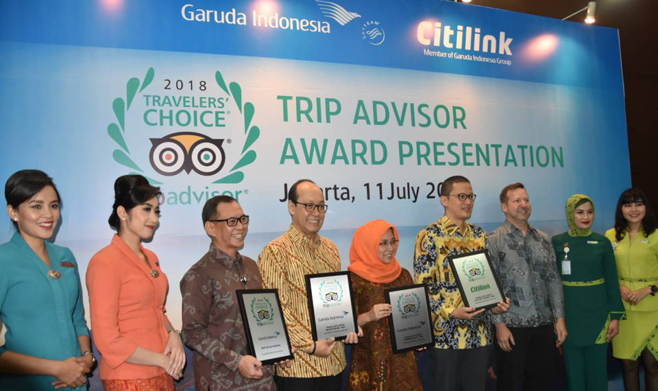 "Garuda Indonesia Group Raih ""TripAdvisor 2018 Travellers Choice Awards"""