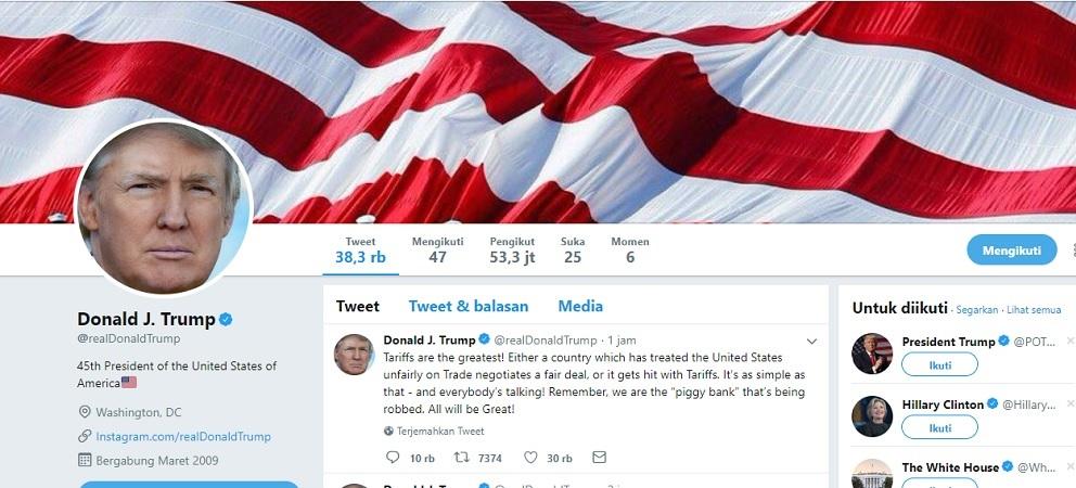Jangan iri, twitter tak mungkin meremove akun Trump