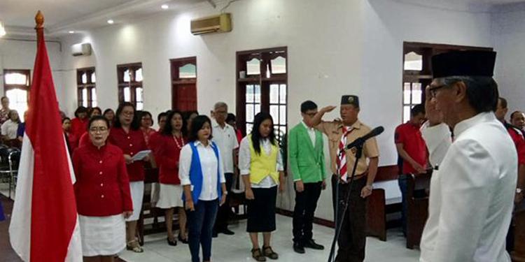 GPIB Petra gelar upacara peringatan HUT Kemerdekaan RI ke 73 dan ibadah syukur di Gereja Bethesda, Jumat (17/8/2018)–dok Petra