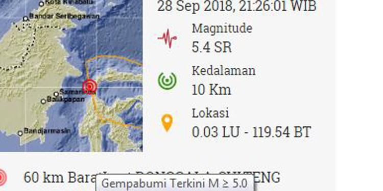Lagi, Sulteng Diguncang Gempa 5.4SR