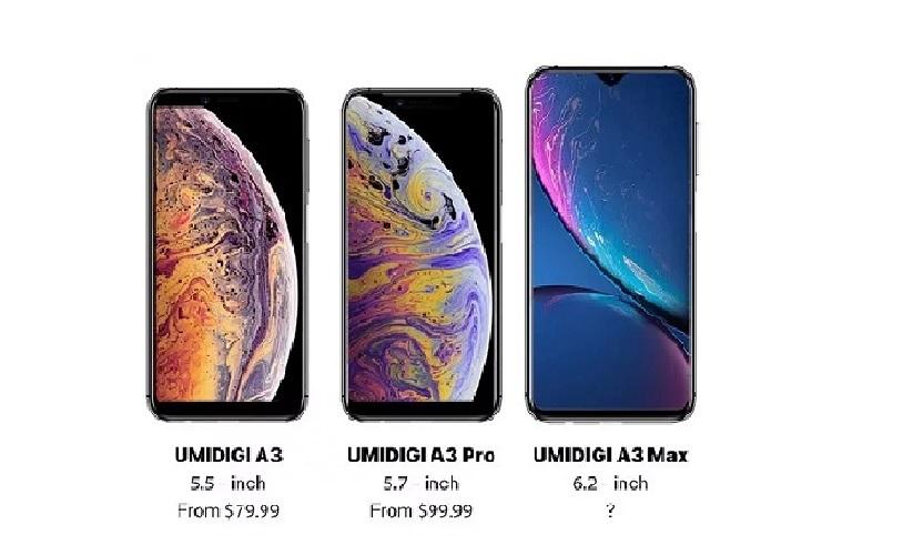Membandingkan (Bocoran) Desain UMIDIGI A3 dengan iPhone XS, XS Max dan XR