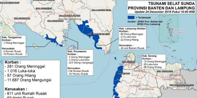 Tsunami Selat Sunda: Korban  Tambah Banyak,  281 Orang Meninggal, 1016 Luka-luka, 11.687 Mengungsi
