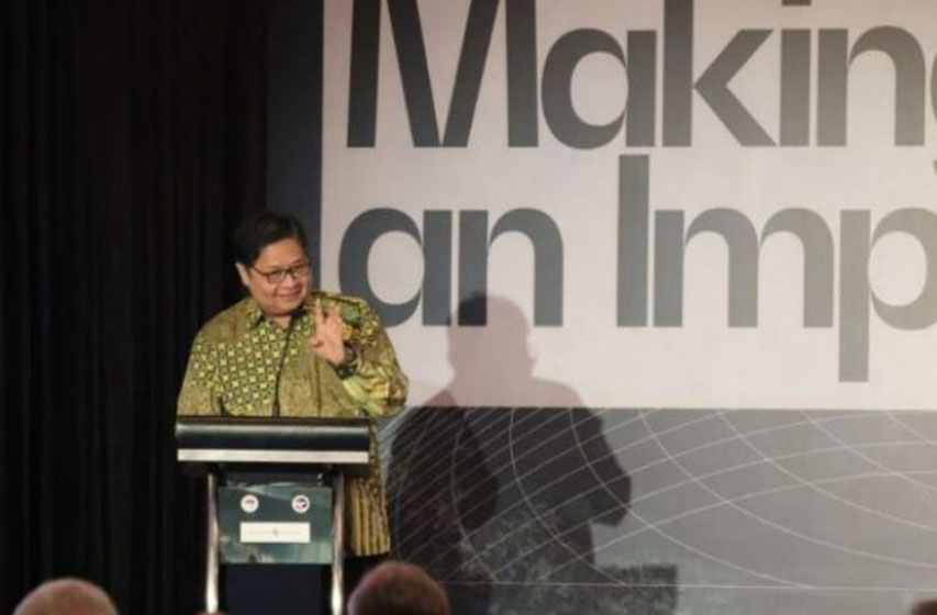 Menko Perekonomian Airlangga Hartarto menyampaikan sambutan pada acara US-Indonesia Investment Summit 2019, di Jakarta, Kamis (21/11). (Foto: Humas Kemenko Perekonomian)