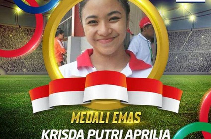 Krisda Putri Aprilia berhasil merengkuh medali emas dari cabor bela diri Karate kategori Women's Individual Kata. Ia mengalahkan Nguyen Thi Phuong dari Vietnam—foto instagram kemenpora