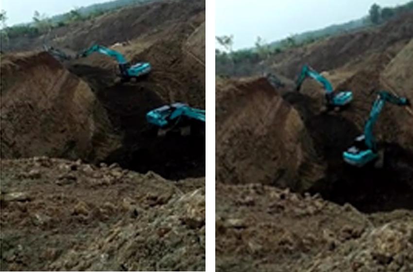 Aktivitas penambangan liar di Kecamatan Cempaka, Kabupaten Purwakarta. (foto: dani y)