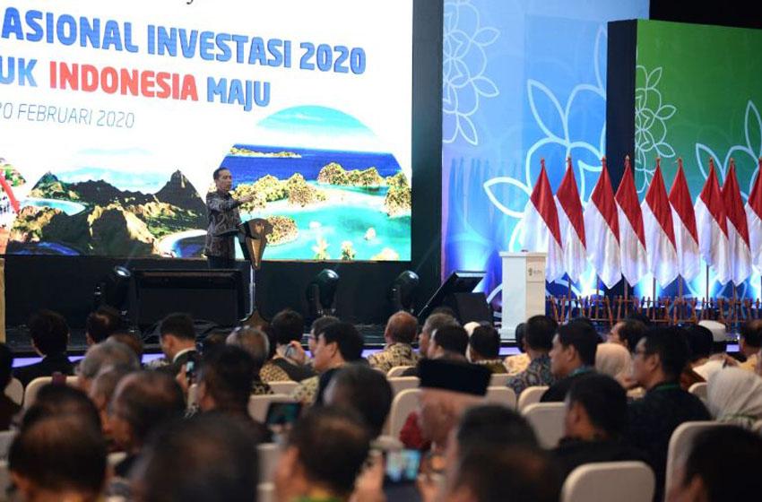 Presiden saat meresmikan pembukaan Rapat Koordinasi Nasional Investasi Tahun 2020 yang digelar di The Ritz Carlton Jakarta Pacific Place, Jakarta Selatan, pada Kamis, 20 Februari 2020–foto presidenri.go.id