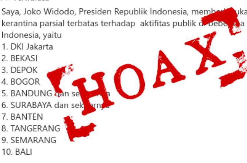 Tak Benar Presiden Joko Widodo Berlakukan Karantina Parsial