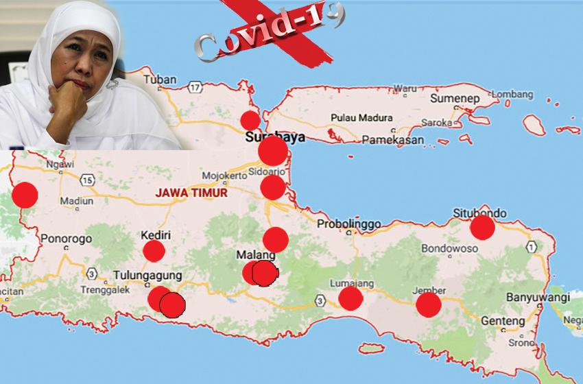 Peta penyebaran virus corona di Jawa Timur yang semakin meluas. (jayakarta news/ilustrasi)