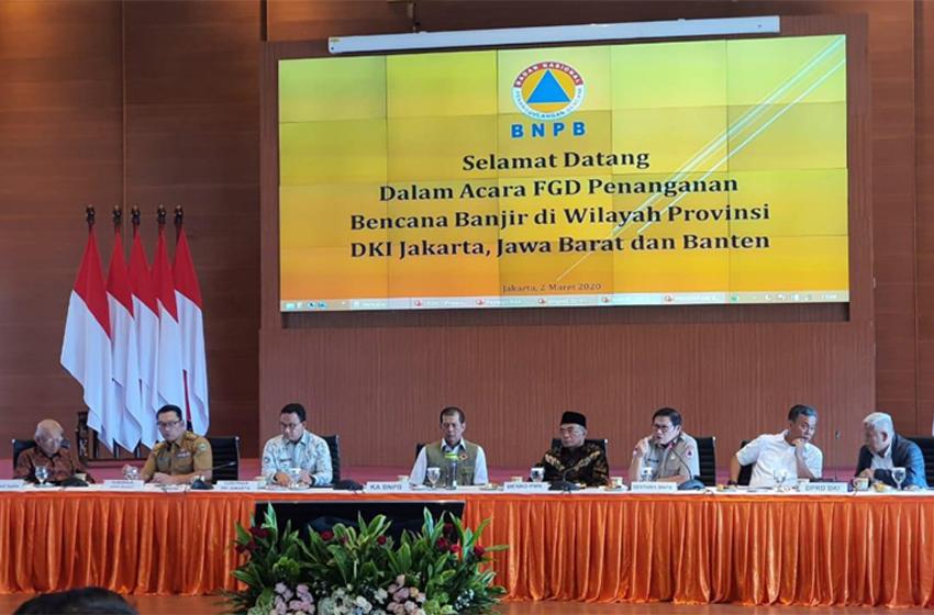 Focus Group Discussion (FGD) Penanganan Bencana Banjir di Jakarta dan Sekitarnya, Senin (2/3/2020) di Graha BNPB, Jl Pramuka, Jakarta Pusat. (foto: BNPB)