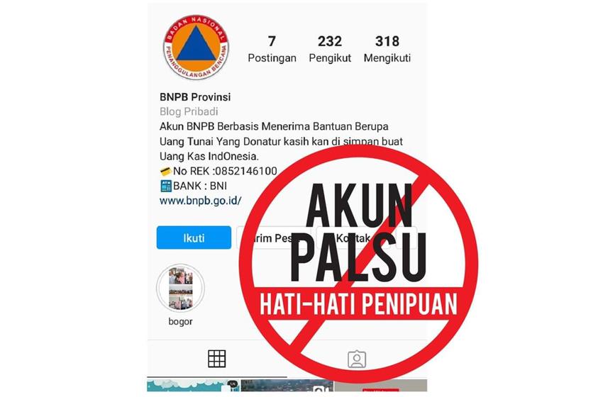 Awas Ada Akun BNPB Palsu buat Cari Donasi