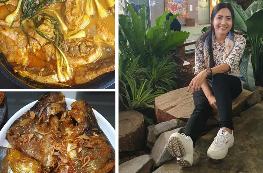 RR Sasmaya Hati dengan dua masakan Nusantara. Atas: Ikan Arsik (khas Sumatera Utara), dan bawah: Ikan Patin khas Riau. (foto: RR)