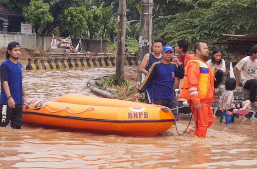 Penampakan banjir di Kelurahan Kotabumi, Kecamatan Grogol, Kota Cilegon, Banten, Senin (4/5)–foto BPBD Kota Cilegon