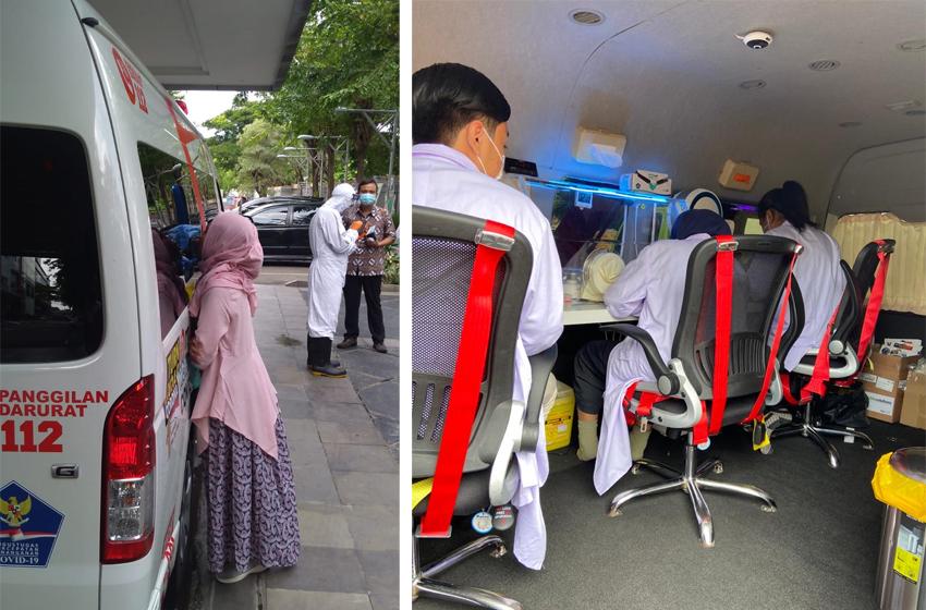Mobil bantuan BNPB dan suasana di dalamnya. (foto: poedji)