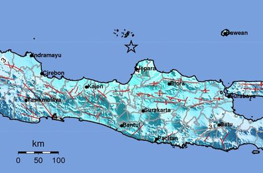 Ilustrasi gempabumi teknonik M 6,1 di Laut Jawa—sumber bmkg