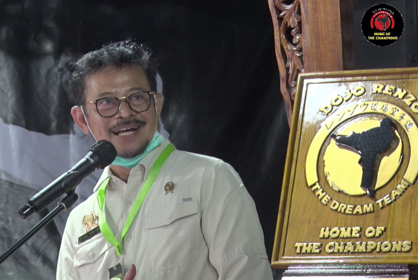 Menteri Pertanian, Syahrul Yassin Limpo saat meresmikan Asrama Dojo Renzo. (foto: Dozo Renzo)