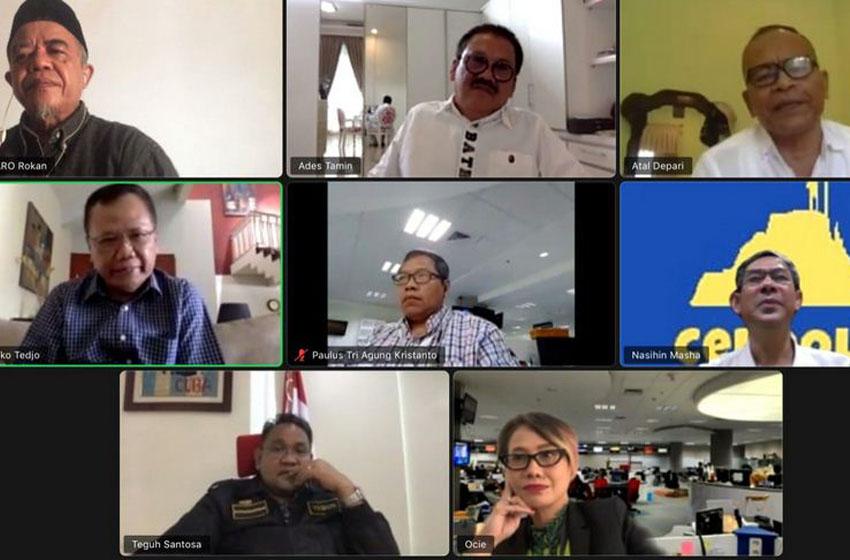 Rapat penetapan Dewan Kehormatan PWI Pusat dilakukan lewat online–foto humas PWI Pusat