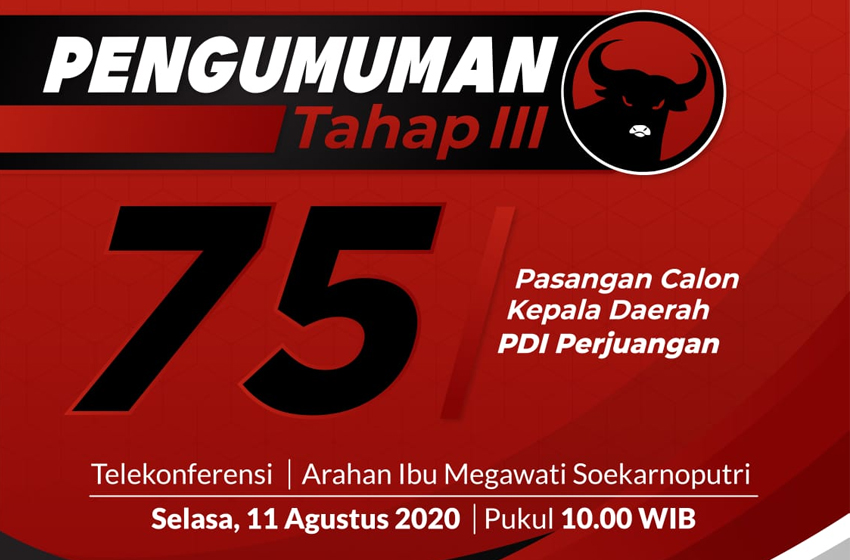 Besok, Paslon PDIP Gelombang III Diumumkan