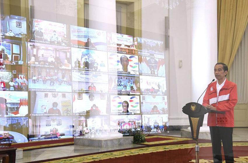 Presiden saat memberikan sambutan pada Puncak Haornas XXXVII secara virtual dari Istana Kepresidenan Bogor, Provinsi Jawa Barat, Rabu (9/9). (Foto: BPMI)