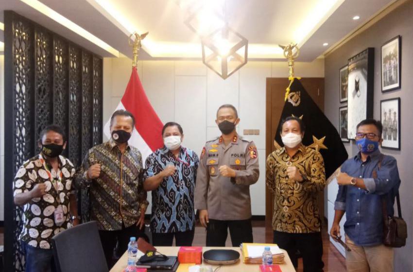 Mappilu PWI bertemu  Asisten Operasi (Asops) Kapolri, Irjen Pol Imam Sugianto di Mabes Polri, Jakarta Selatan, Selasa (22/9) siang—foto humas PWI Pusat