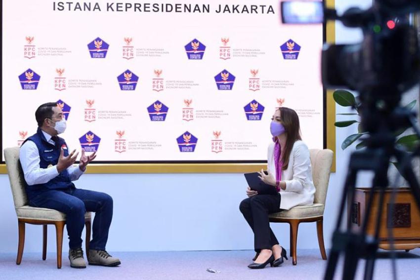 Gubernur Jawa Barat Ridwan Kamil dalam wawancara yang dilakukan oleh Juru Bicara Satgas Penanganan Covid-19 dr Reisa Brotoasmoro— Muchlis Jr – Biro Pers Sekretariat Presiden