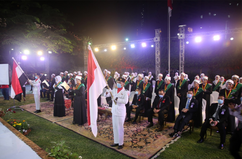 Suasana wisuda dan apresiasi prestasi bagi 170 lulusan Universitas Al-Azhar di Wisma Duta, Selasa, 27 Oktober 2020. (foto: KBRI Cairo)