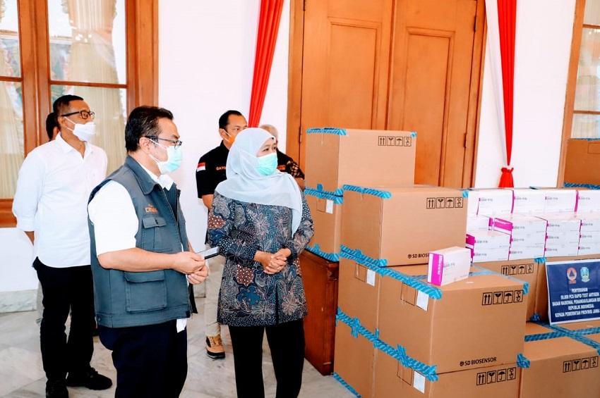 BNPB Sumbang Jatim 50.250 Rapid Test Antigen