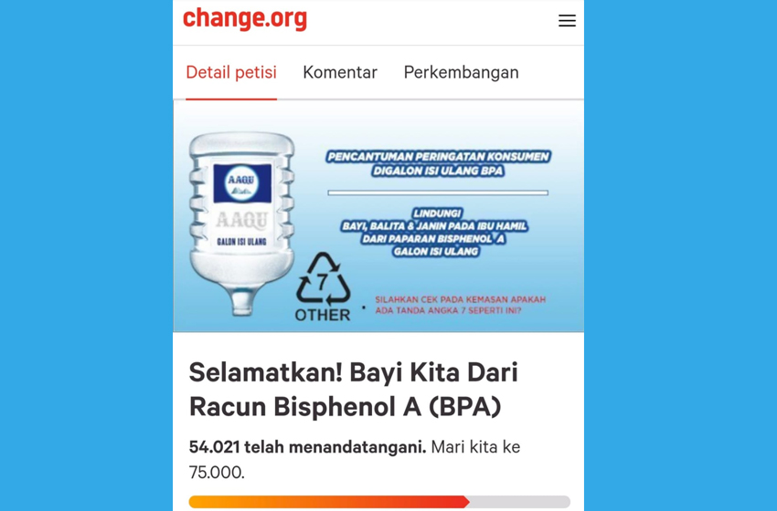 Lebih 50.000 Warganet Minta BPOM Melindungi Bayi, Balita dan Ibu Hamil dari BPA Galon Air Mineral