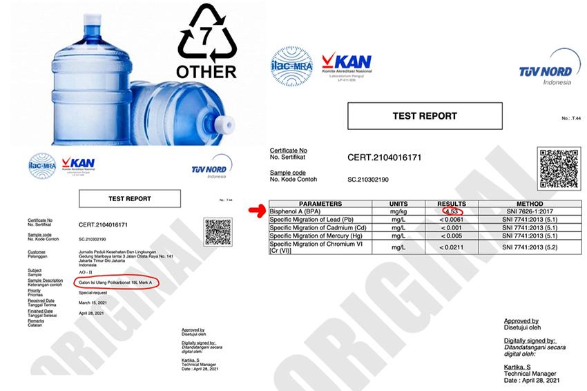 Hasil Analisa Lab, Migrasi BPA Telah Melewati Batas Toleransi