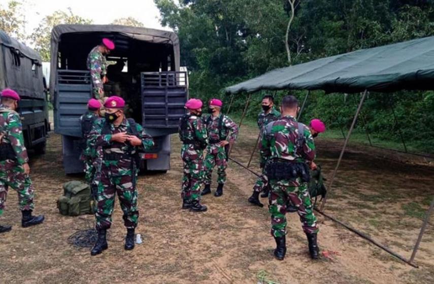 Sebanyak 215 Prajurit Yonif 1 Marinir Bantu Amankan PPKM Mikro di Bangkalan